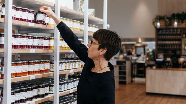 Choosing products at Barker's