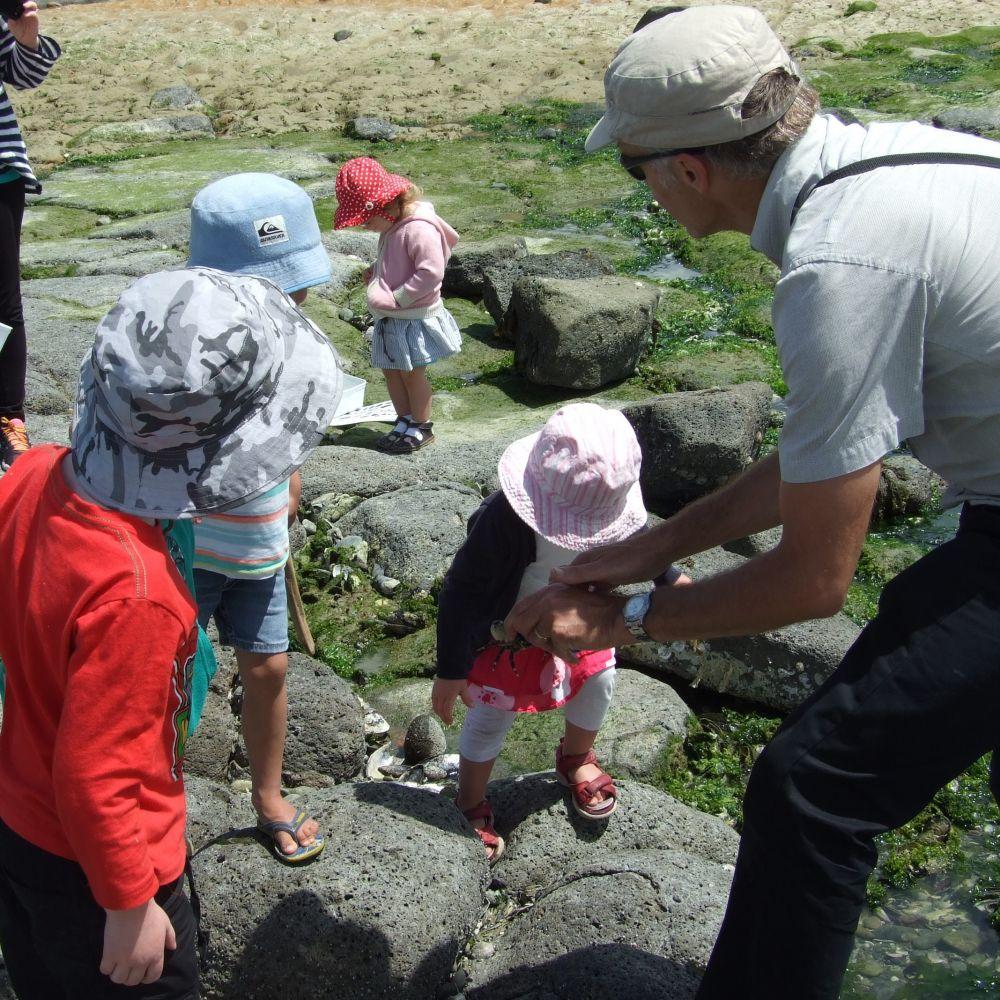 Kids at rock pools
